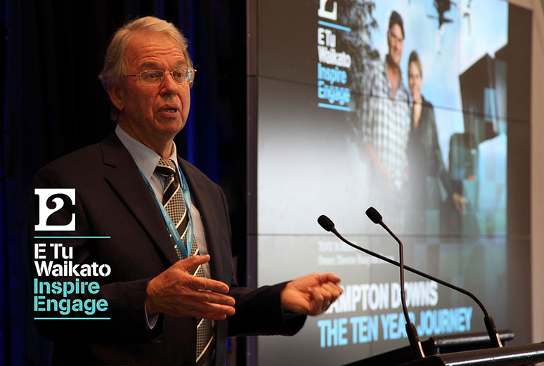 Tony Roberts, managing director Hampton Downs Group, speaking at the E Tu conference.
